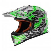 LS2 Кроссовый шлем MX437 Fast Glitch (White Black Green)